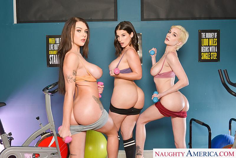 Naughty America VR – Gabbie Carter, LaSirena69 & Skye Blue – Fuck A Peeper In The Gym 1