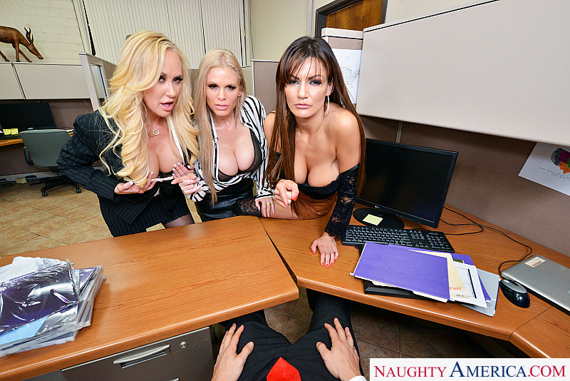 Naughty America VR Becky Bandini Brandi Love Casca Akashova have their way with their hung co-worker VR 1